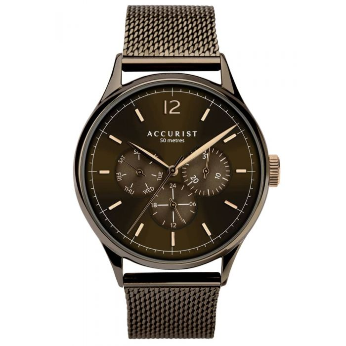Accurist Mens Contemporary Brown Day Date Chronograph Dial Mesh Strap Watch