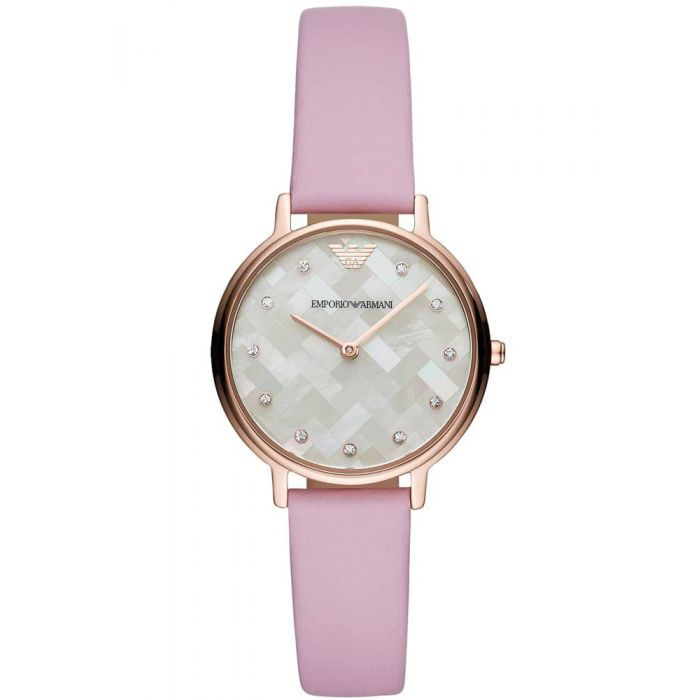 Emporio Armani Ladies Kappa Rose Gold Plated Lilac Strap Watch