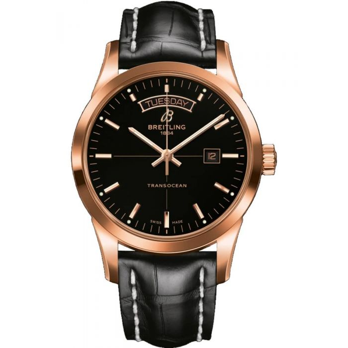 Breitling Mens Transocean Day & Date Leather Strap Watch