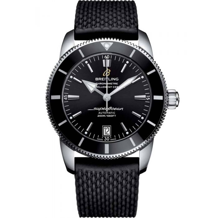 Breitling Mens Superocean Heritage II Automatic 42 Black Rubber Strap Watch