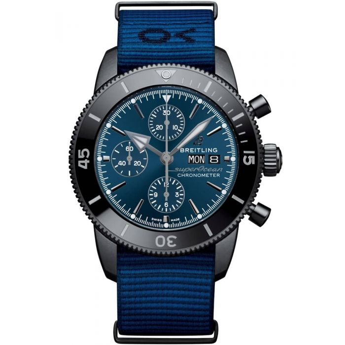 Breitling Mens Superocean Heritage II Chronograph 44 Outerknown Black Steel Blue Fabric Strap Watch