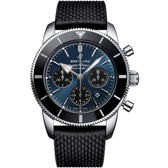 Breitling Mens Superocean Heritage II B01 Chronograph 44 Black Rubber Strap Watch