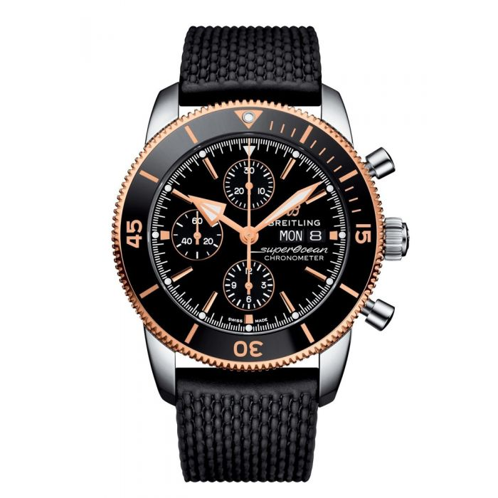 Breitling Mens Superocean Heritage Chronograph 44 Black Rubber Strap Watch