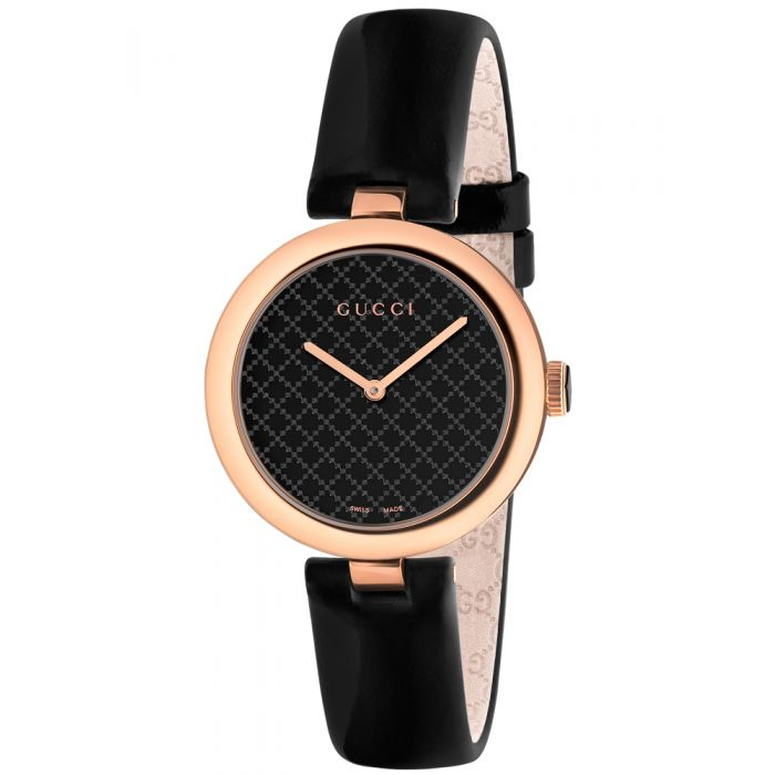 Gucci Ladies Diamantissima Rose Gold Plated Black Dial Leather Strap Watch