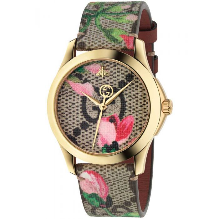 Gucci Ladies G-Timeless Gold Plated Pink Blooms Leather Strap Watch