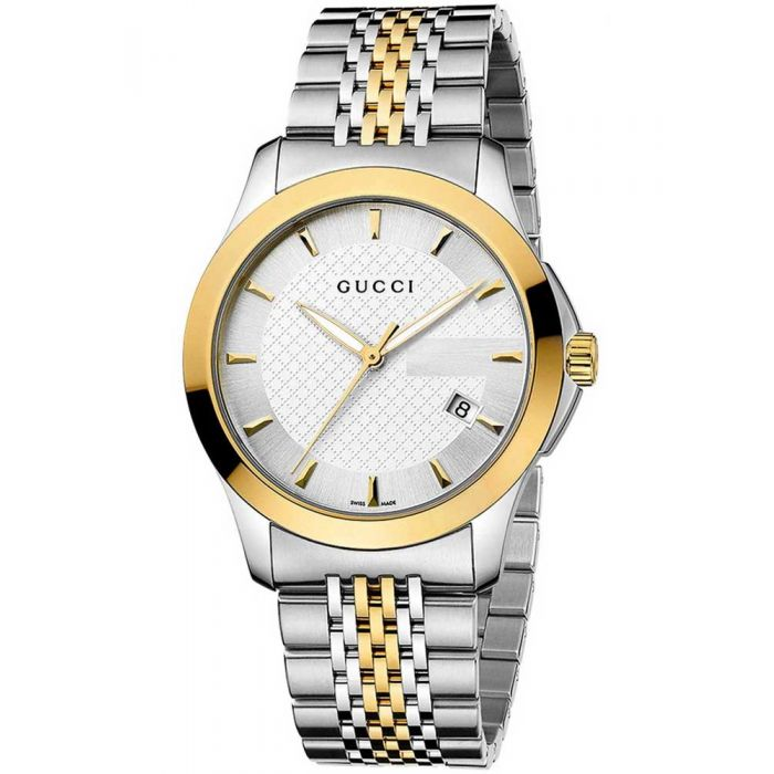 Gucci Mens G-Timeless Two Colour Silver Dial Bracelet Watch