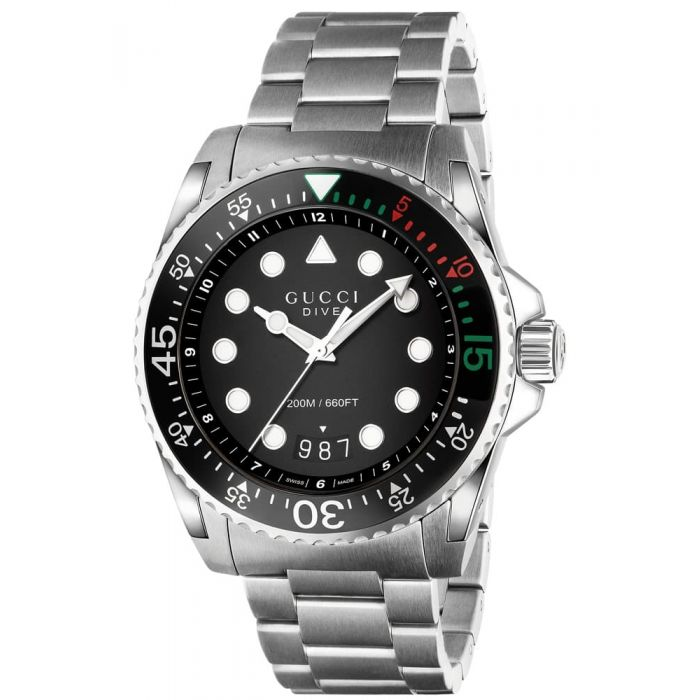 Gucci Dive XL Stainless Steel Black Dial Bracelet Watch