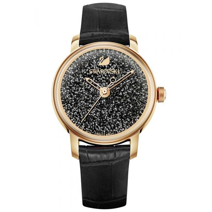 Swarovski Crystalline Hours Rose Gold Tone Black Strap Watch