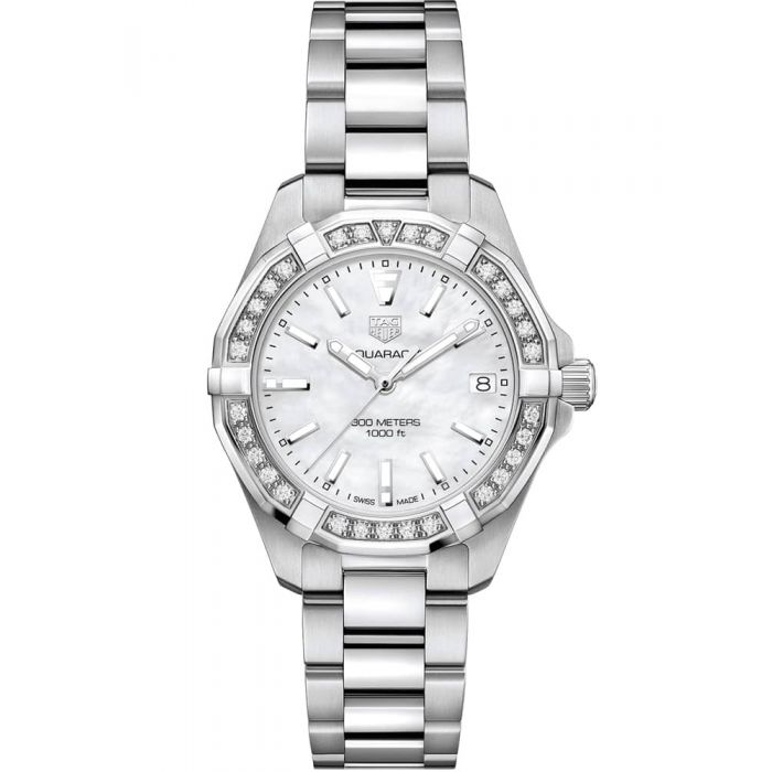 TAG Heuer Ladies Aquaracer Mother Of Pearl Diamond Set Dial Stainless Steel Bracelet Watch