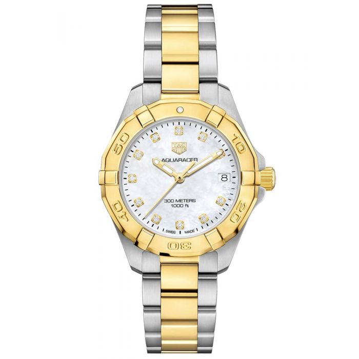 TAG Heuer Ladies Aquaracer Mother Of Pearl Diamond Set Bezel Gold Plated Stainless Steel Two Tone Bracelet Watch