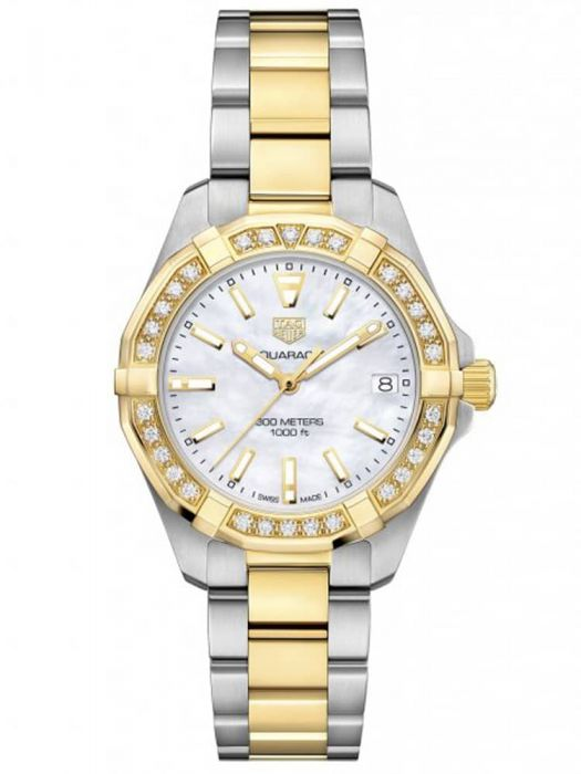 TAG Heuer Ladies Aquaracer Mother Of Pearl Diamond Set Dial Gold Plated Stainless Steel Two Tone Bracelet Watch