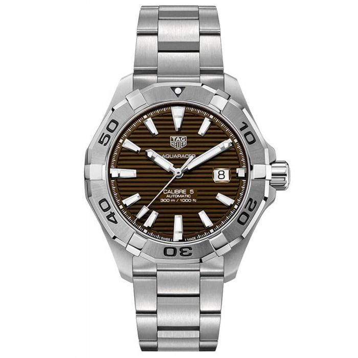 TAG Heuer Mens Aquaracer Calibre 5 Brown Sunray Dial Stainless Steel Bracelet Watch