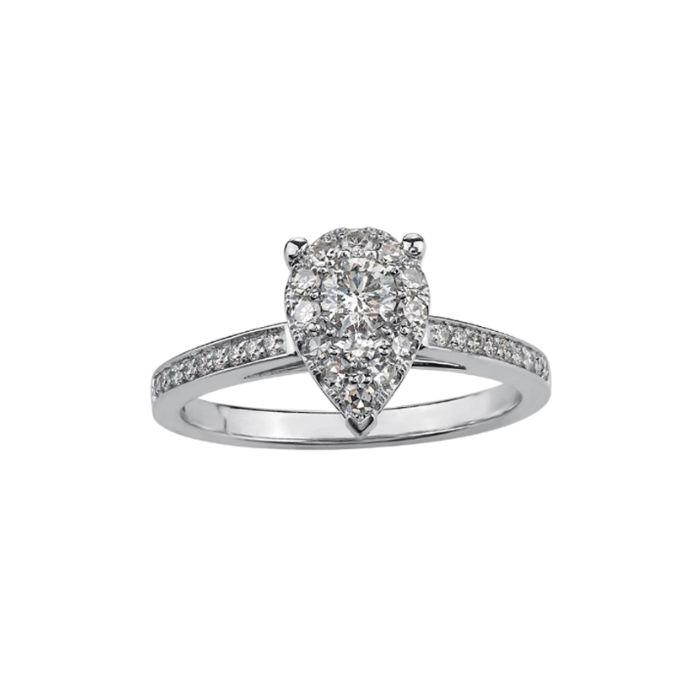 T H Baker 9ct White Gold 0.50ct Diamond Pear Cluster Ring