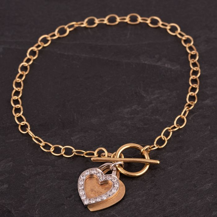 Second Hand 9ct Two Colour 7.5 Inch Belcher and Double Heart T Bar Bracelet