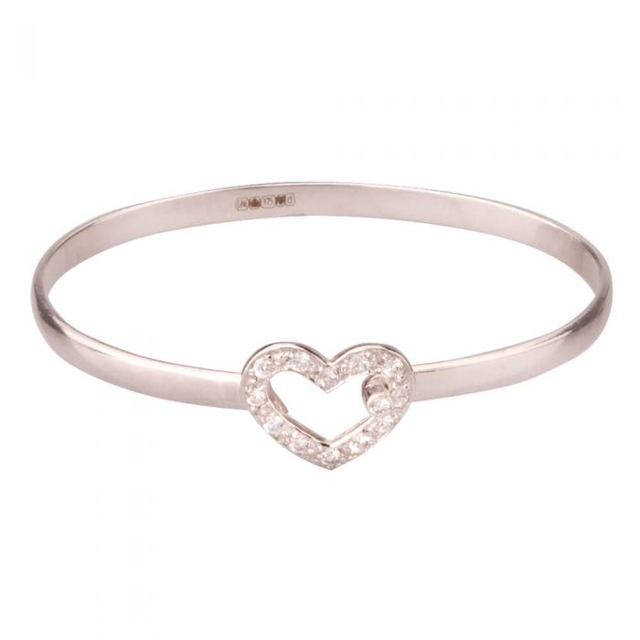 Second Hand 9ct White Gold Childrens Heart Bangle