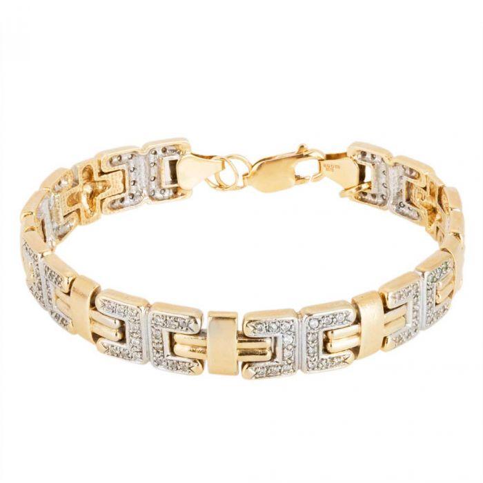 Second Hand 9ct Two Colour Gold Cubic Zirconia Set Link Bracelet