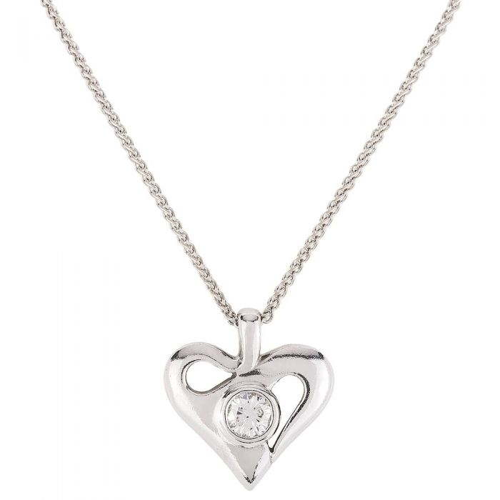 Second Hand 18ct White Gold Diamond Heart Necklace