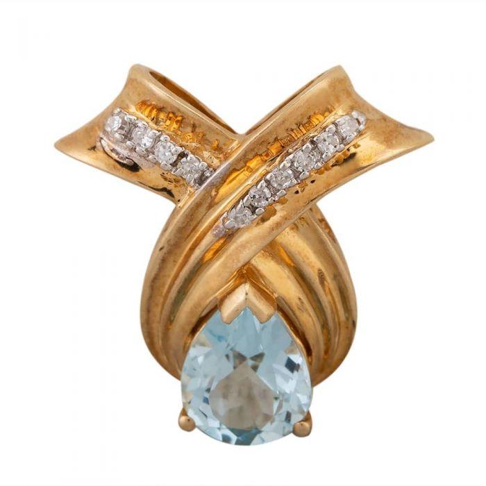 Second Hand 9ct Yellow Gold Blue Topaz and Diamond Teardrop Pendant