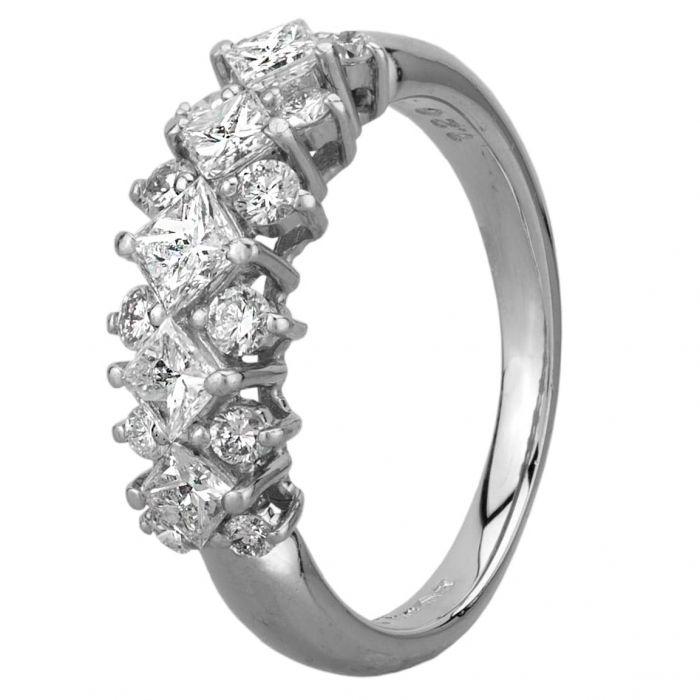 second hand platinum princess and round cut diamond three row ring gmc 116 2 1 t h. Black Bedroom Furniture Sets. Home Design Ideas