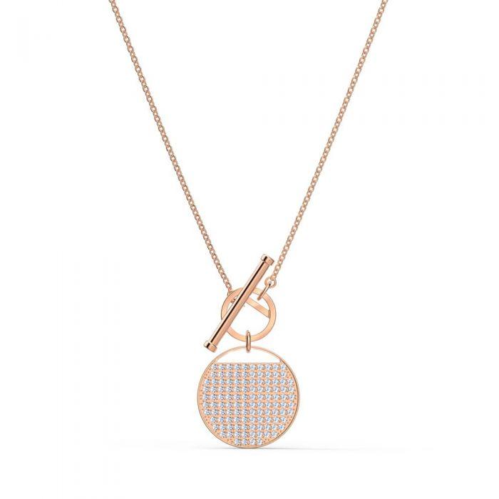 Swarovski Ginger Rose Gold Tone Plated White Crystal T-Bar Necklace