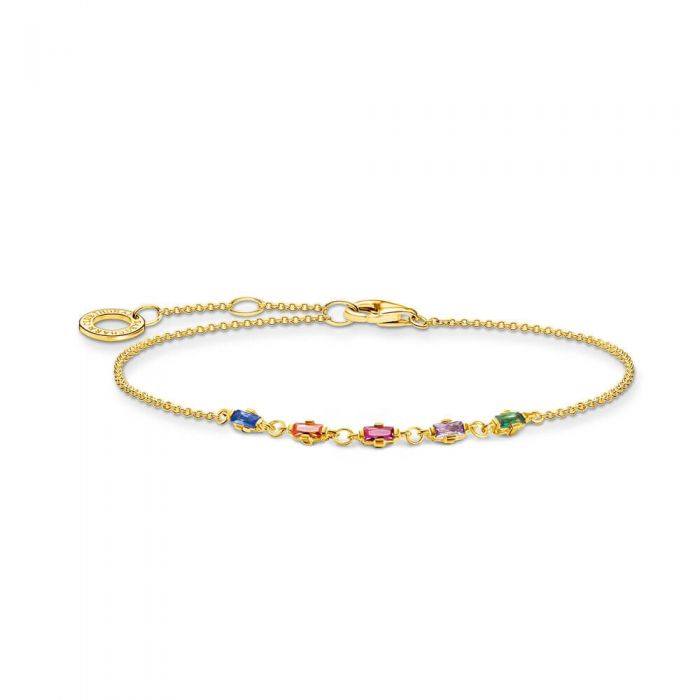 THOMAS SABO 18ct Yellow Gold Plated Colourful Stones Bracelet