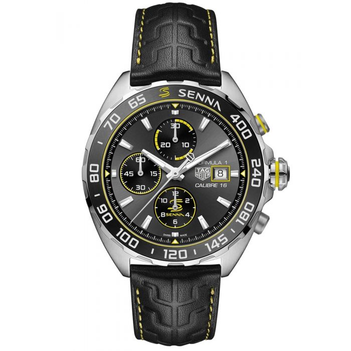 TAG Heuer Mens Formula 1 Senna Special Edition Automatic Black Leather Strap Watch