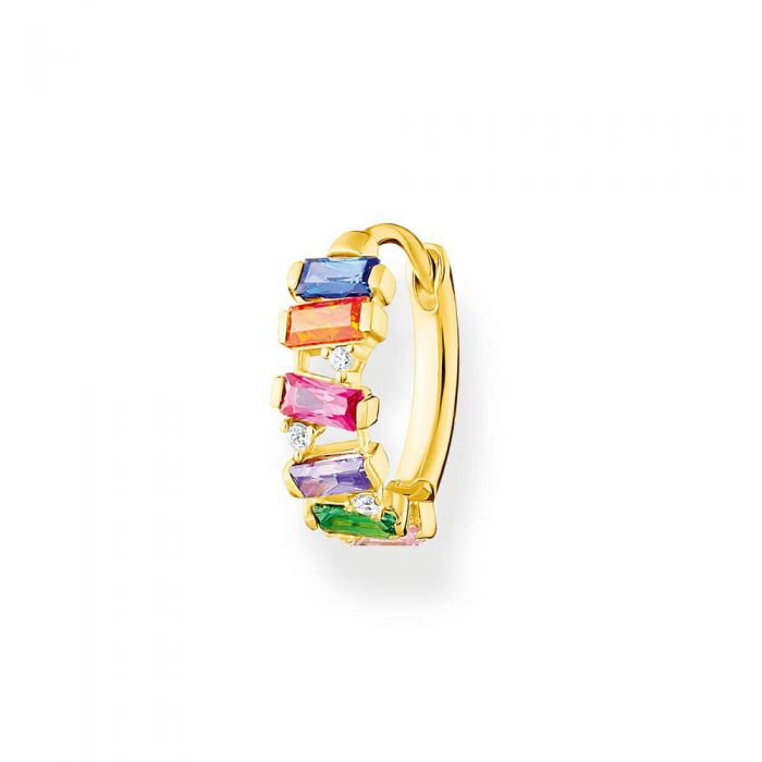 THOMAS SABO 18ct Yellow Gold Plated Colourful Stones Single Hoop Earring