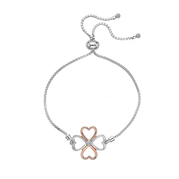 Hot Diamonds Silver & Rose Gold Plated Lucky in Love Bracelet
