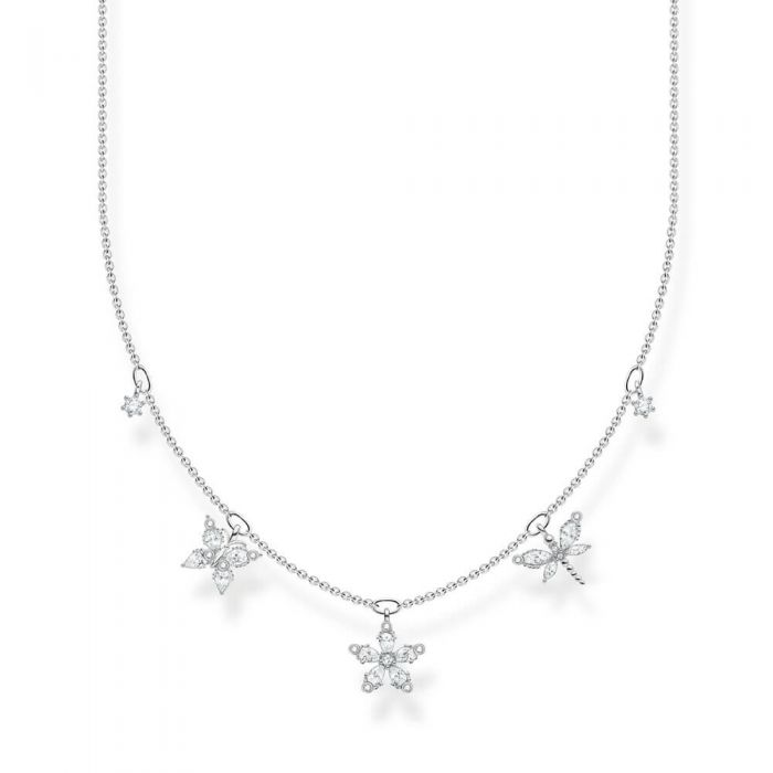 THOMAS SABO Sterling Silver White Cubic Zirconia Flower Necklace