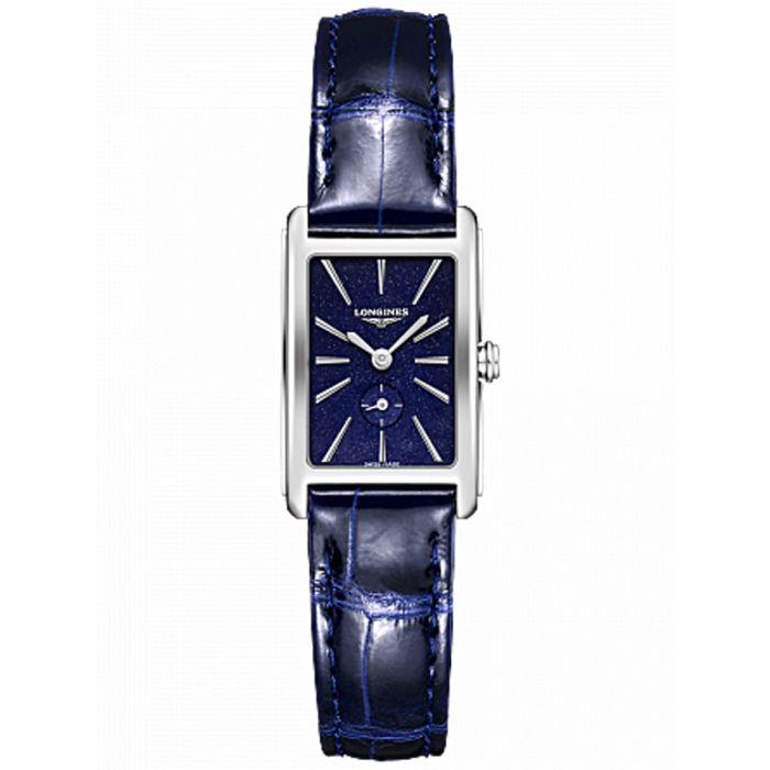 2. Longines Ladies DolceVita Blue Alligator Strap Watch