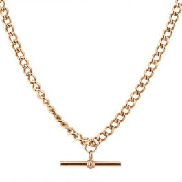 Second Hand 9ct Rose Gold T Bar Curb Chain Necklace 4103292 T H