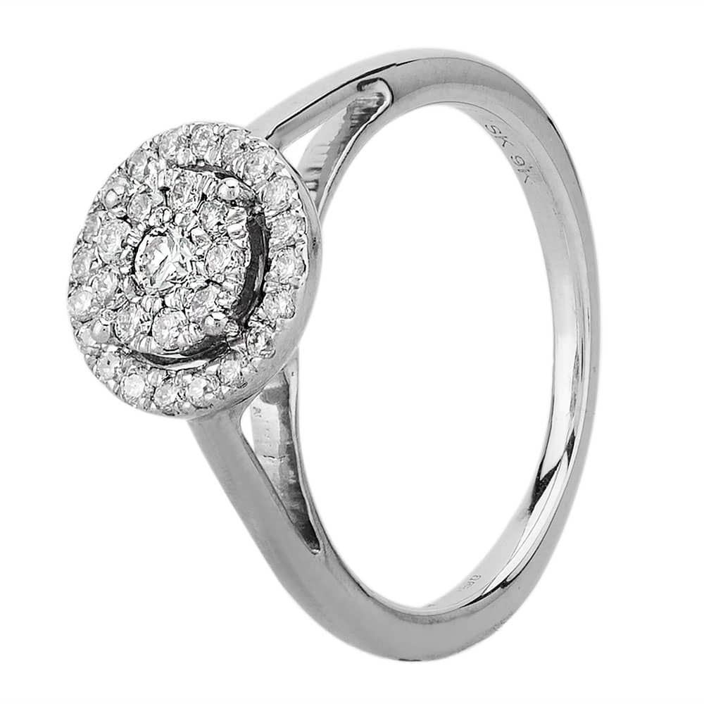 9ct White Gold 0.25ct Diamond Halo Cluster Ring