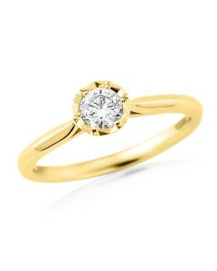 9ct Yellow Gold 0.20ct Diamond Solitaire Ring 9395/9YT/DQ1020