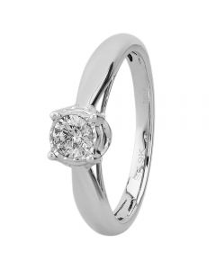 9ct White Gold 0.50ct Diamond Mount Accent Solitaire Ring SKR20232-50