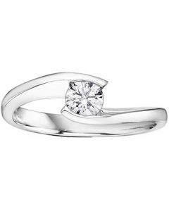 18ct White Gold Tension-set 0.40ct Diamond Twist Solitaire Ring 1808WG/40-18 N
