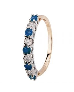 9ct Yellow Gold Claw Set Sapphire And Diamond Half Eternity Ring H6142S-9Y-008F