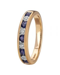 9ct Gold Sapphire And Diamond Channel Set Half Eternity Ring H6143S-9Y-006F