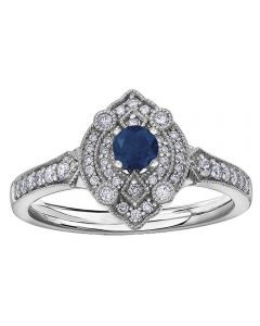 9ct White Gold Sapphire and Diamond Vintage Marquise Cluster Ring 30246WG/50-9 SAPH