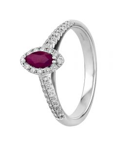 9ct White Gold Marquise-cut Ruby and Diamond Cluster Ring R4100-63 W 9