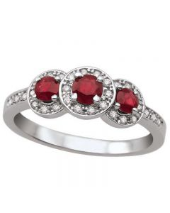 9ct White Gold Ruby and Diamond Triple Cluster Ring L54282WG/RUBY
