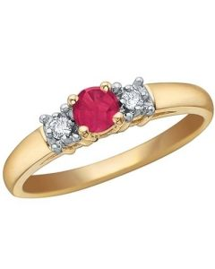 9ct Yellow Gold Ruby and Diamond Trilogy Ring 51T28/7-10