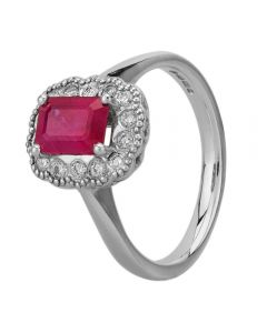 18ct White Gold Emerald-Cut Ruby and Diamond Cluster Ring 9555/18W/DQ7R