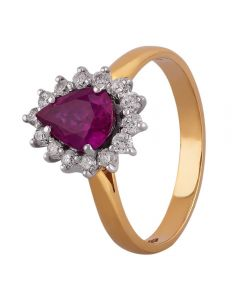 18ct Yellow Gold Pear-cut Ruby and Diamond Cluster Ring V123/R/41814C M