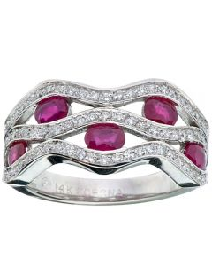 18ct White Gold Ruby and Diamond Open Wave Ring 50G93WG-18 RBY