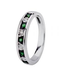9ct White Gold Channel Set Emerald And Diamond Half Eternity Ring H6143E-9W-006F