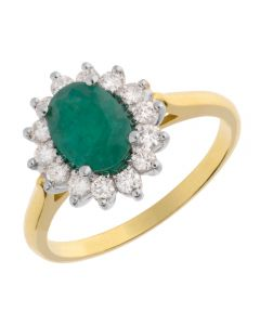 18ct Yellow Gold Oval Emerald and Diamond Cluster Ring 51Z60WG/9 EM N