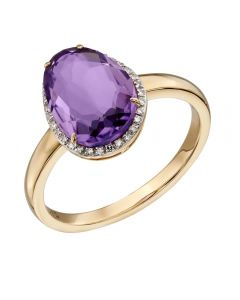 9ct Oval Amethyst and Diamond Pave Ring GR558M