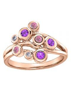 9ct Rose Gold Amethyst Tourmaline and Diamond Ring 52E05RG-10