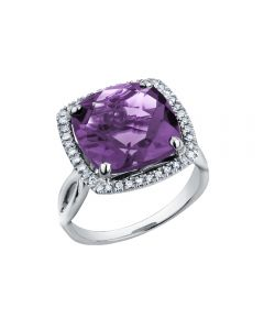 9ct White Gold Cushion-cut Amethyst and Diamond Cluster Ring 52B73WG/10 L