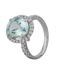 18ct White Gold Oval Aquamarine and Diamond Shouldered Cluster Ring NTR69AQD/3-18W M